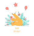 birthday greeting card with a cute cartoon bear vector image vector image
