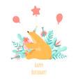 birthday greeting card with a cute cartoon bear vector image