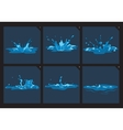 Blue water splashes frame set for game vector image vector image