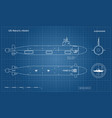blueprint of submarine military ship vector image vector image