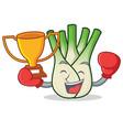 boxing winner fennel mascot cartoon style vector image vector image