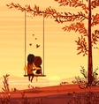 Boy and girl looking at the sunset Romantic night vector image vector image