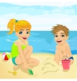brother and sister playing with sand at beach vector image vector image