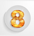 button wood numbers 8 vector image vector image