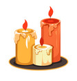 candles on tray isolated icon melting wax vector image vector image