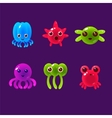 Cartoon Sea Animals Marine Life Colorful vector image vector image