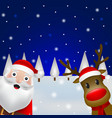 christmas santa claus and reindeer close up in the vector image vector image