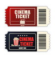 cinema ticket set template two realistic movie vector image vector image