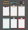 clipboard office supplies blank sheet notes on vector image