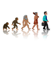 Concept of human evolution from ape to man vector image vector image