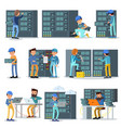 data center working people set vector image