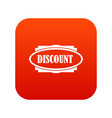 discount oval label icon digital red vector image vector image