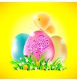 Eggs in the grass with words happy easter vector image