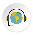 globe with headset icon circle vector image vector image
