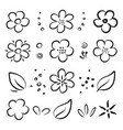 hand drawn black summer flowers and leaves set vector image