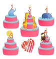Happy Birthday Cakes Collection with Animals and vector image vector image