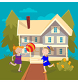 Happy Girls Playing Ball near the House Summer vector image vector image