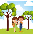 happy little boy and girl hugging friendship in vector image