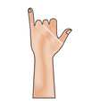 human hand gesturing shaka symbol vector image