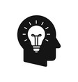 human head profile with light bulb symbol vector image