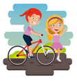 little girls practicing sports happy characters vector image