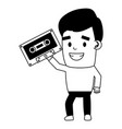 man with cassette equipment festival music vector image vector image