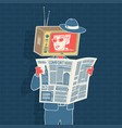 man with newspaper and head tv vector image vector image