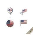 map pins with flag united states america vector image vector image
