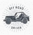 Offroad suv car vintage label hand drawn sketch vector image