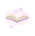 open book with violet hardcover and paper pages vector image