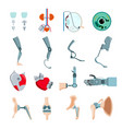 prothesis implants flat set vector image vector image
