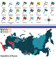 Republics of Russia with flags vector image vector image