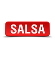 Salsa red 3d square button isolated on white vector image vector image