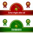set extra virgin olive oil labels - red green vector image vector image
