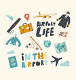 set icons airport theme airplane pilot uniform vector image