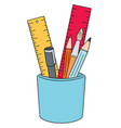 set of pen pencil paintbrush and ruler vector image vector image