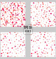 set of red hearts seamless patterns 4 in 1 vector image