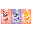 set of yogurt with strawberry blueberry vector image vector image