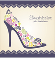 shoes card with lace vector image vector image