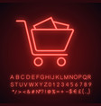Shopping trolley neon light icon