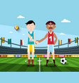 soccer players holding hands on football stadium vector image vector image