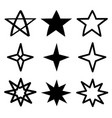 star sparkles sign symbol icon set black vector image vector image