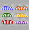 striped awnings colorful outdoor canopy for shop vector image