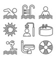 swimming pool icons set on white background line vector image vector image