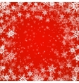 Christmas background of snowflakes in red colors vector image