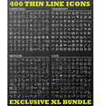 400 thin line icons bundle vector image vector image