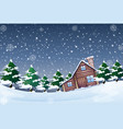 a winter landscape at night vector image vector image