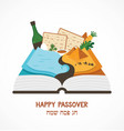 abstract passover story haggadah book over vector image vector image