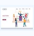 auction website landing page design vector image