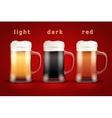 Beer mugs with three brands vector image vector image